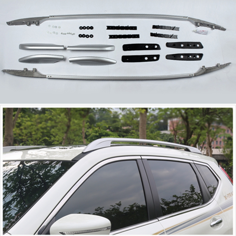 Car-Styling ! Accessories Silver Roof Rack Side Luggage Carrier Bars 1set for Nissan X-trail Rogue 2014 2015 2016 2017