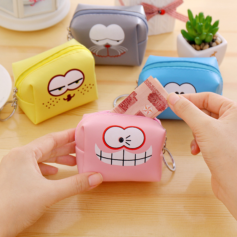 eTya Cartoon Women Kids Coin Purse PU Leather Small Mini Key Wallet Holder Girl Zipper Pouch Clutch Children's Change Purses 2017creative cute cartoon coin purse key chain for girls pu leather icecream cake popcorn kids zipper change wallet card holder