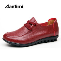 AARDIMI Autumn Winter Genuine Leather Casual Shoes Woman 3 Colors Lace Up Women Flats Shoes Vintage