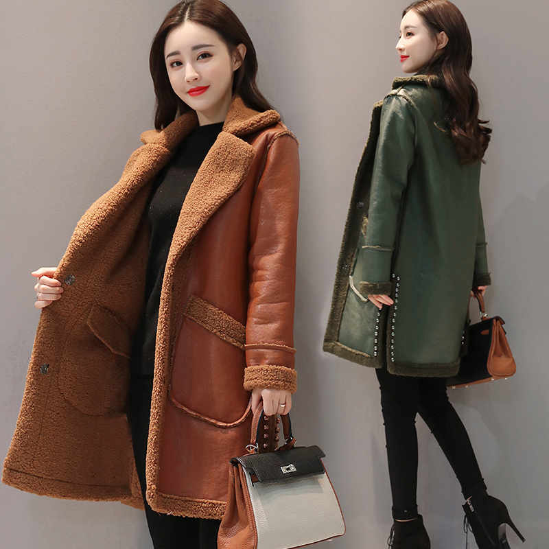 New Womens Winter Lapel Long PU Leather Jacket Coat Wool Liner Parkas Outwear Warm 2Color Thicken