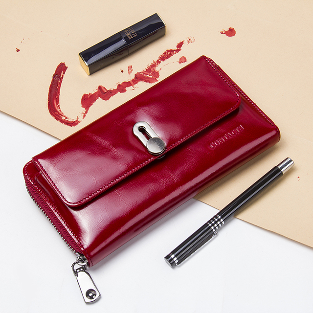 Contact's New Fashion Women Wallet Long Design Clutch Wallets Genuine Leather Female Wallet Zipper&Hasp Coin Purse High Quality