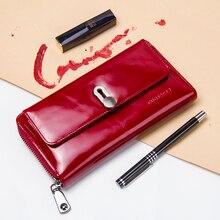 Nova moda feminina carteira design longo carteiras de embreagem couro genuíno carteira feminina zíper & ferrolho moeda bolsa alta qualidade