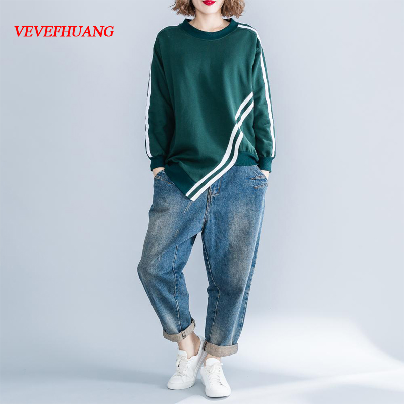 New Autumn Winter Fashion Long Sleeve O-Neck Striped Asymmetrical Patchwork Pullovers Casual Loose Cotton Sweatshirt Plus Size