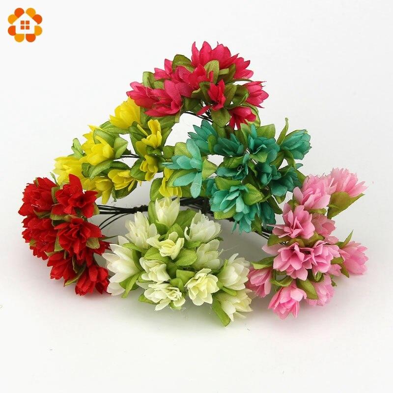 12 unids/lote puede al por mayor diy flores artificiales de seda ramo de la boda