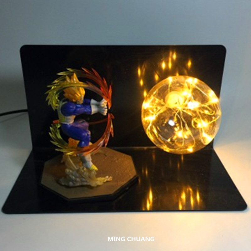 цена Anime Dragon Ball Z Creative Glow Saiyan Son Goku Table Lamp With LED Light Plastic Action Figure Collectible Model Toy D442