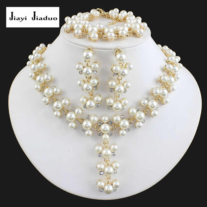 jiayijiaduo fashion imitation pearl gold-color jewelry set for women bridal wedding jewelry necklace earrings bracelet gift