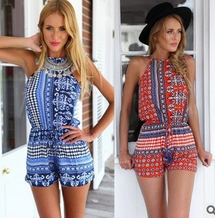 Women Sleeveless Split Back Tribal Aztec Mix Prints Casual Beach Hot Shorts Playsuits Jumpsuits Rompers Red Blue 2015 hollow out