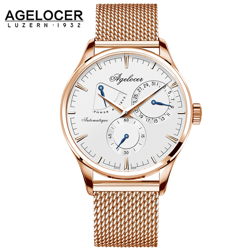 AGELOCER Men Watch Luxury Brand Military Automatic Watches Mens Stainless Steel Male Clock Sport Business Wrist Watch Gift Box xinge top brand luxury leather strap military watches male sport clock business 2017 quartz men fashion wrist watches xg1080