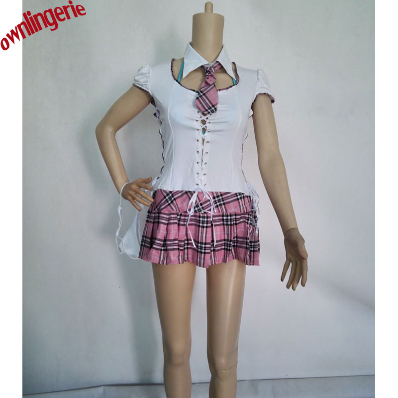 japan sexy school girl costume sex teacher uniform,bandage white blouse and pink grid pleated skirt school girl cospaly costume