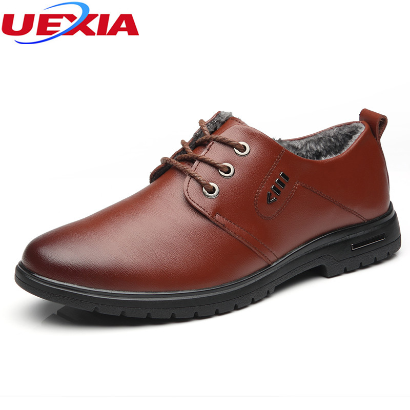 UEXIA Men Leather Winter Warm Fur Working Mountain Shoes High Quality Breathable Slip-on Casual Shoes Fashion Designer Snow Plus fxdxenek men casual shoes top quality men high top flat men s sneakes fashion hip hop shoes with fur warm winter ankle shoes