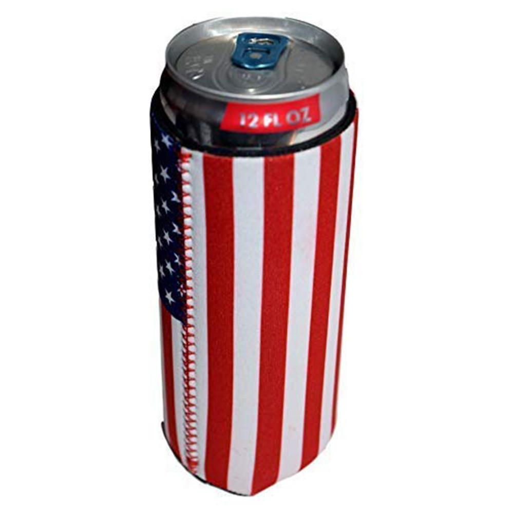 6PCS USA Flag Slim Can Cooler Sleeves Beer Skinny 12 oz Neoprene Coolies Perfect For Slim Red Bull Michelob Ultra Spiked Seltzer in Insulation Bags from Mother Kids