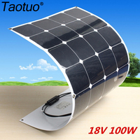 Taotuo Power 18V 100W Monocrystalline Flexible Solar Panels Cells + 10A Controller Set For Fishing Boats Battery Charger