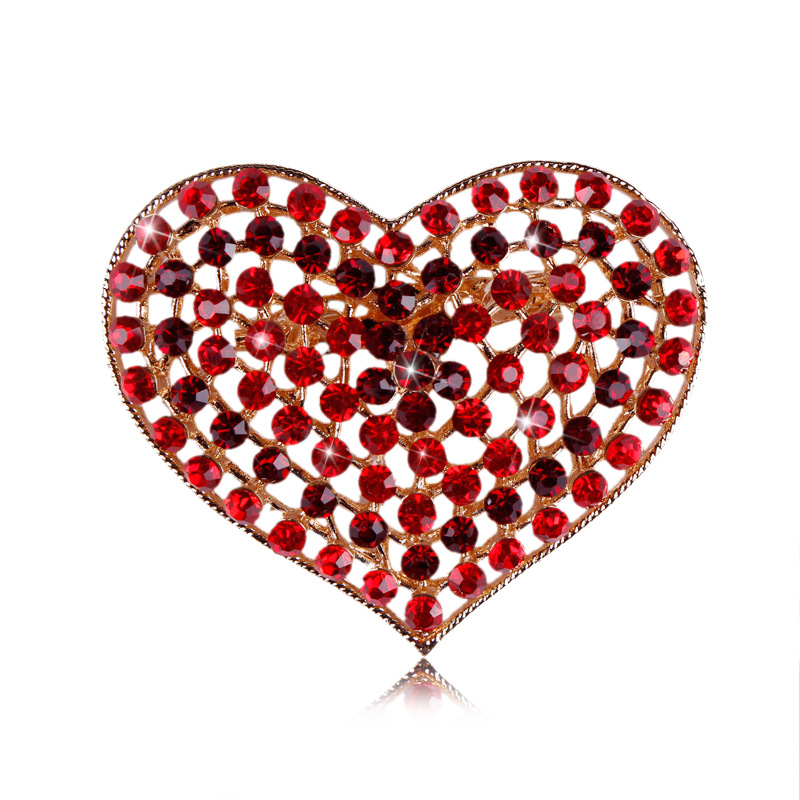 Gifts for Mothers Day Red Crystal Rhinestone Heart Brooches and Pins Women Clothes Accesseries