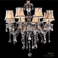 Home smoke grey chandelier crystal lighting mini retro vintage chandelier bedroom dining room kid light Fashion led chandeliers