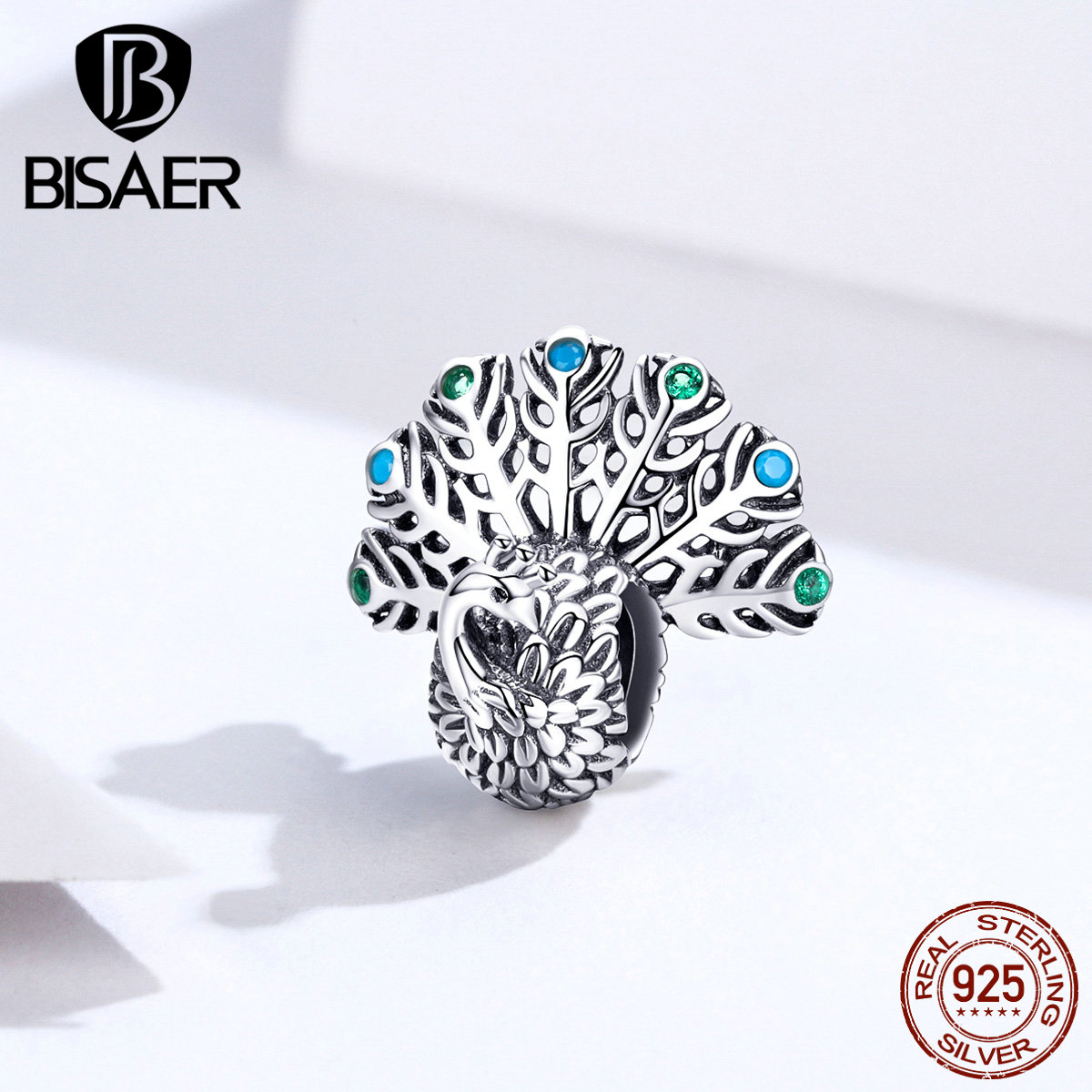 Peacock Charms BISAER Hot Sale 925 Sterling Silver Pure Peacock Beads Charms Fit Charm Bracelets Silver 925 Jewelry ECC1260