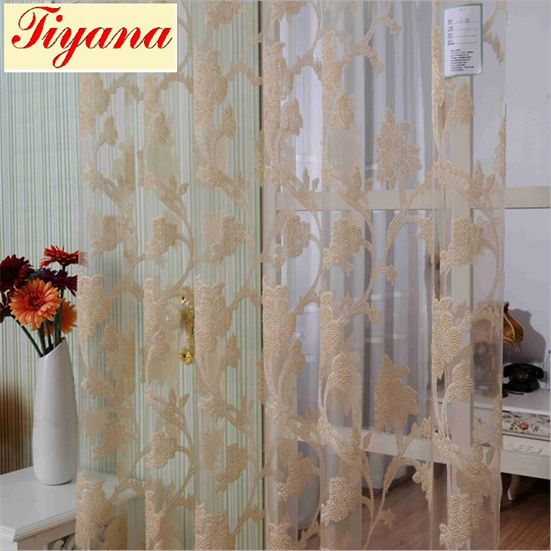Sheer Modern Flower Tulle Window Screens Fancy Living Room Curtains Curtain Set Valance Jaquard