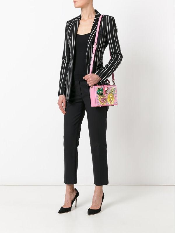 Luxury Designer Handbag Genuine Leather Women Pineapple Embellished Box Tote Bag (8)