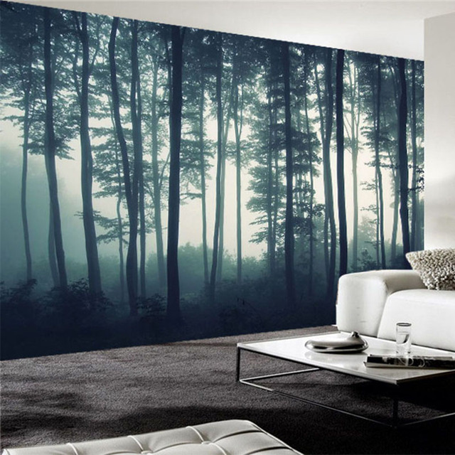 Custom Photo Wallpaper 3D Dense Fog Forest Tree Wall Mural Living Room TV  Sofa Bedroom Wall