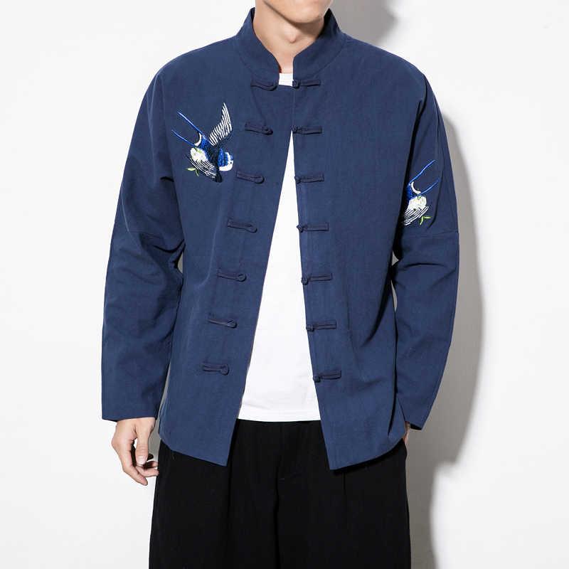 2018 새로운 중국 스타일 레트로 플러스 크기 5xl 당나라 정장 재킷 젊은 남성 수 놓은 hanfu 남성 전통 쿵푸 재킷 코트
