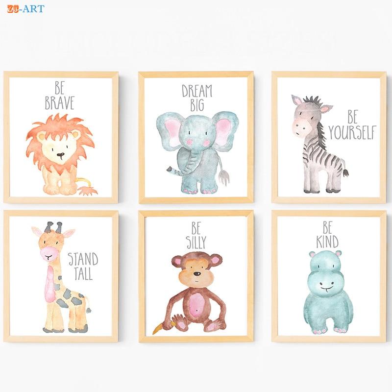 Affiche avec horloge zéro animaux, peinture sur toile, citation d'animaux Safari, feuilles imprimées, cadeau de réception pour bébé, décor mural artistique pour pépinière 2