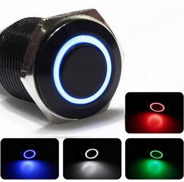 5 V 12 V 24 V 220 V LED samochód aluminium metalowy przełącznik Push przycisk chwilowy przycisk przełączniki sprężyna powrotna