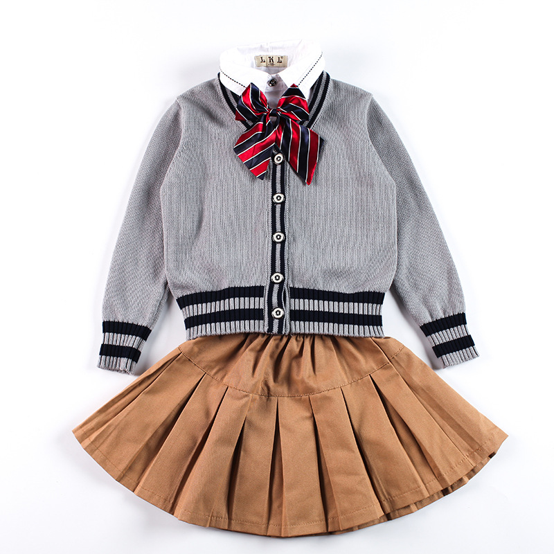 Children Teenage British Style Girls Boys School Uniforms Shirt + Sweater + Pant Tutu Skirt Set Performing Suit With Bow Tie W51 girls cute knitted sweater with skirt kids set wear sweet style with bow knot for spring