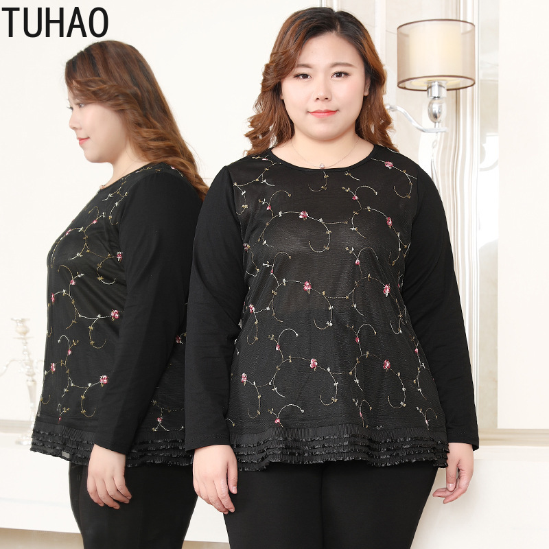 TUHAO 2019 spring elegant black blouses for woman plu sisze 10XL 8XL 6XL office lady work blouse shirts top embroidery tops MSFS