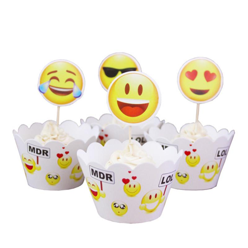 24pcs Emoji Expression Cupcake Wrappers Cake Toppers Picks Set For Baby Shower Boy Kids Birthday Party Wedding Party Supplies