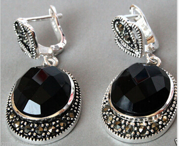 Dyy 827 Vintage Sterling Silver Natural Faceted Black Onyx Marcasite Earrings In Stud From Jewelry Accessories On Aliexpress Alibaba
