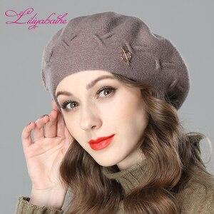 Image 3 - Liliyabaihe Yeni kadın kış şapka Yün örgü bere, kapaklar son popüler dekorasyon katı renk moda bayan şapka