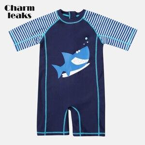 Charmleaks One-Piece Baby Boy's Swimwear Fish Printed Rashguard Swimsuit Child Short Sleeve Rash Guard UPF 50+ Cute Beach Wear(China)
