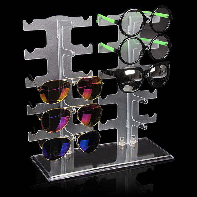 934c295b8932 Frosting Practical Clear 10 5 Pairs Glass Stand Sunglass Holder Glasses  Rack Display Organizer Sunglasses Frame Shelf Showcase