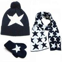 Fashion Star New Baby Hat Scarf Gloves Set Crochet Warm Baby Hats For Girls Boys Winter