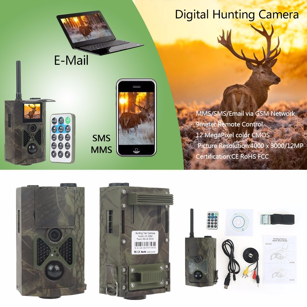 Night vision GSM/MMS/SMS/SMTP 16MP 940NM 1080P HC-550M Digital Infrared Trail Camera hc 550m gsm gprs sms mms security hunting trail camera hc550m 16mp with 940nm black invisible vision hc 550m