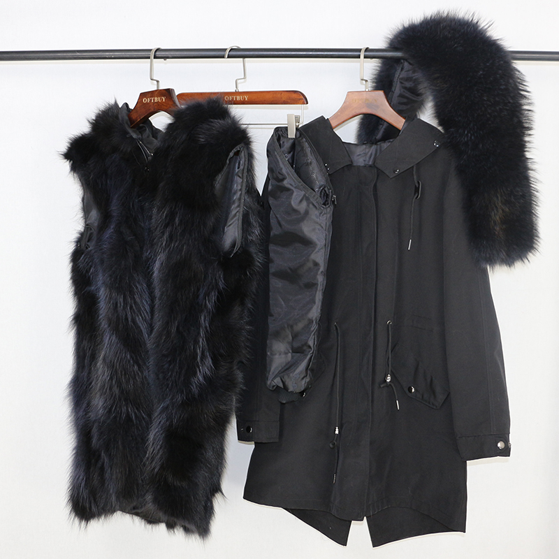 2019 Real Fur Coat Winter Jacket Women Long Parka Waterproof Big Natural Raccoon Fur Collar Hood Thick Warm Real Fox Fur Liner 23