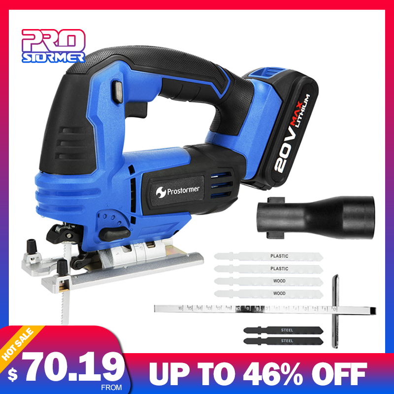 PROSTORMER 20V Cordless Jig Saw With Quick Blade Change Electric Power Tool Jigsaw LED Light Guide With 6 Pcs Blades Woodworking