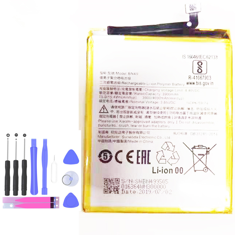 4000mAh Full New BN49 Replacement <font><b>Battery</b></font> For Xiaomi <font><b>Mi</b></font> <font><b>6X</b></font> Batterie Cell Mobile Phone <font><b>Batteries</b></font>+tool image