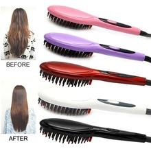 hot deal buy ceramic electric brush hair styling tool hair straightening brush hair care eu us uk au