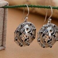 S925 стерлингового серебра старинные изделия и народное ремесло женские модели модные серьги круглые личностные модели