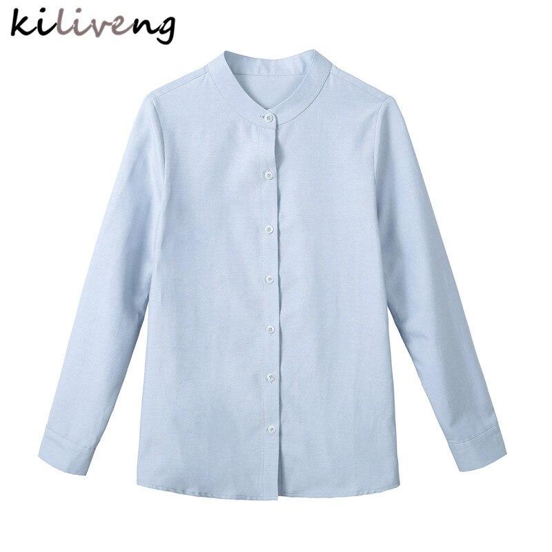 Femmes Lâche Irrégulière Casual Col Taille Style 2017 Kh1701 Plein La blanc Gris Vintage Automne Montant Chinois Blouses Chemises Chemise Nouvelle Plus Tops rqXvnrw6
