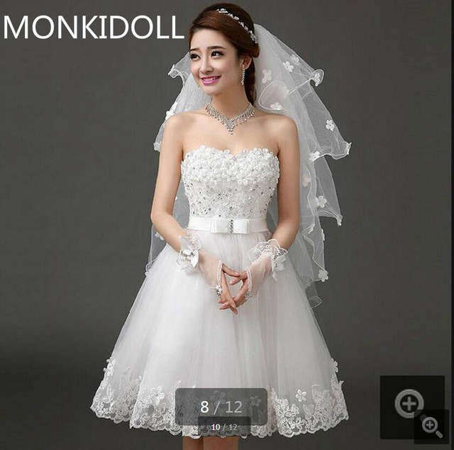 Real Picture Romantic Short Petite Girls Wedding Dress Informal