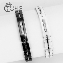 Pulseras de cerámica con diamantes de imitación para mujer, pulsera de cerámica blanca y negra de buena calidad con cadena de reloj, 8MM de ancho