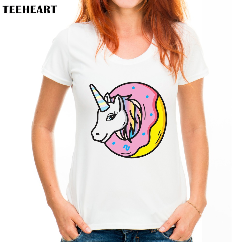 teeheart casual t shirt women donut unicorn printed short. Black Bedroom Furniture Sets. Home Design Ideas