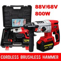4 Functions 68V/88V Electric Brushless Hammer Cordless Power Impact Drill with Lithium Battery Power Drill Electric Drill