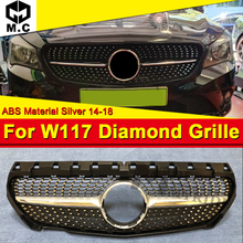 W117 Diamond grille ABS Material silver Fits For MercedesMB Sports  Cla180 Cla200 Cla250 Cla300 cla350 Mesh 2014-18
