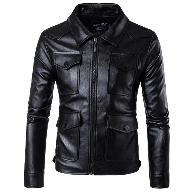 New Mens PU Leather Motorcycle Jackets Vintage Jackets Coats Men Multi Pockets Male Biker Punk Classic Moto Jacket Size M-5XL free shipping 2017 cool brand man style skull leather eur plus size jackets men s genuine leather motorcycle biker jacket