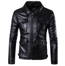 New Mens PU Leather Motorcycle Jackets Vintage Coats Men Multi Pockets Male Biker Punk Classic Moto Jacket Size M-5XL