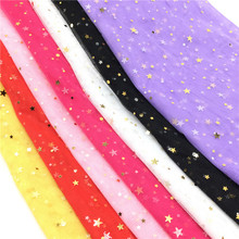 150CM 1yard/lot Golden Star Mesh Fabric Gauze Tulle Bronzing Tissue Kids Dress Cloth Sewing Doll DIY Craft Quilt Materials