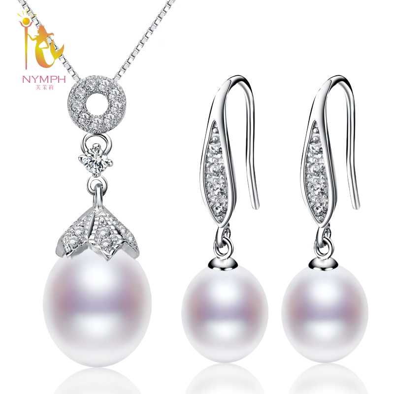 NYMPH Pearl Jewelry Sets For Woman Natural Freshwater Pearl Neckalce Pendant Earrings Water Drop Fashion Gift T306