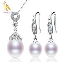 NYMPH Pearl Jewelry Sets For Woman Natural Freshwater Pearl Neckalce Pendant Earrings Water Drop Fashion Gift T306(China)